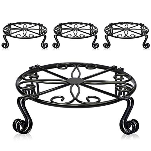 4 Pack Black Plant Stand for Flower Pot Heavy Duty Potted Holder Indoor Outdoor Metal Rustproof Iron Garden Container Round Supports Rack for Planter Bronze (12 x 3.1 Inches-4Packs, Black)