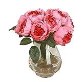 Mamum 1 Bouquet 6 Têtes Pivoine Romantique Artificielle Fleur de Soie Feuille Maison Mariage Party Decor Fleur artificielle de haute qualité de couleur Rétro européenne de pivoine (Rose foncé)