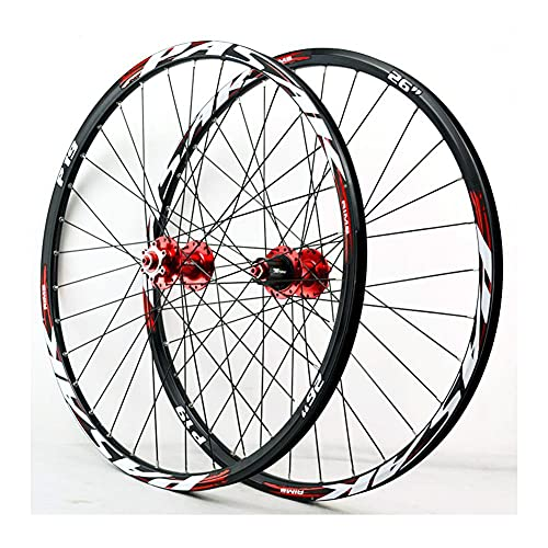 QHY 26/27.5/29 Pollici Set di Ruote per MTB QR 1-1/2'Cerchi in Lega A Doppia Parete Freno Disco Bicicletta MTB Cerchioni 8 9 10 11 velocità AM (Color : Red, Size : 29 inch)
