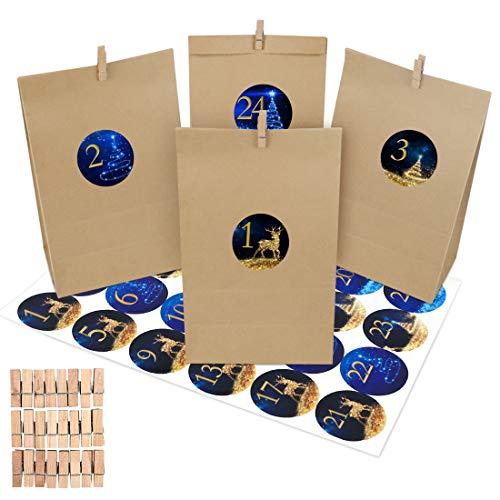 Adventskalender zum Befüllen 2020, 24 Kraftpapier Tüten Weihnachten Geschenktüten, DIY Adventskalender Selber Basteln, Papiertüten mit 24 Zahlen-Aufklebern - für Kinder zum Befüllen Dekorieren