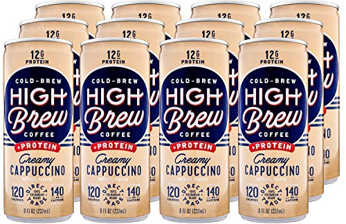 High Brew Coffee Cold Brew Coffee Creamy Cappuccino Plus Protein, 8 Fl Oz, Pack of 12