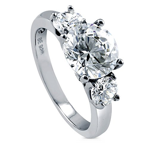 BERRICLE Rhodium Plated Sterling Silver Round Cubic Zirconia CZ 3-Stone Anniversary Wedding Engagement Ring 3.1 CTW Size 6.5