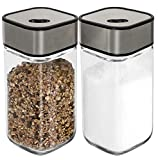 Salt and Pepper Shakers with Adjustable Pour Holes - Salt Shakers - Stainless Steel with Clear Glass Bottom (2-Pc. Set)