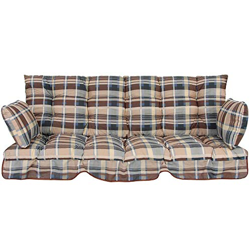 PATIO Auflagen Set Ravenna 175 cm für Hollywoodschaukel Polsterauflage Sitzkissen Rückenkissen Seitenkissen Gesteppt B001-01PB