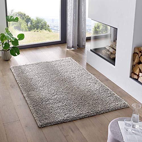 Teppich Wölkchen Shaggy-Teppich   Flauschiger Hochflor für Wohnzimmer, Kinderzimmer oder Flur Läufer   Einfarbig, Schadstoffgeprüft, Allergikergeeignet I Grau - 80 x 150 cm