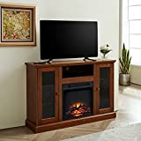 GOOD & GRACIOUS Electric Fireplace TV Stand, Fit up to 55' Flat Screen TV with Two Cabinet and Four Adjustable Tempered Glass Shelves Entertainment Center for Living Room, Espresso