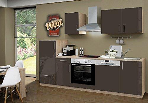 idealShopping Küchenblock mit Geschirrspüler und Ceranfeld Premium 270 cm in lava glänzend