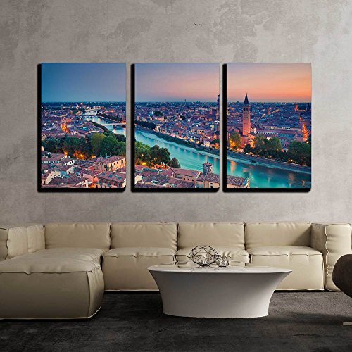 "wall26 - 3 Piece Canvas Wall Art - Verona. Image of Verona, Italy During Summer Sunset. - Modern Home Decor Stretched and Framed Ready to Hang - 24""x36""x3 Panels"
