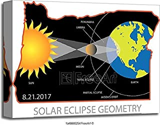 Barewalls 2017 Solar Eclipse Geometry Across Oregon Cities Map Illustration Gallery Wrapped Canvas Art (16in. x 20in.)