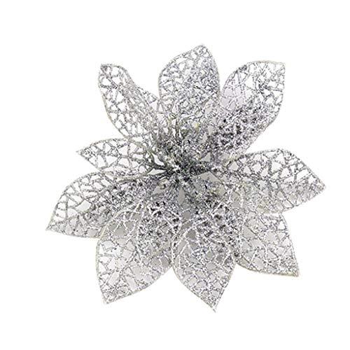 SuperSU 5 Stück PVC Kunstblumen Christbaumschmuck, künstliche Weihnachtsblumen, Weihnachtsschmuck, Unechte Blumen für Hausgarten Zeremonie Hochzeit Blumendekor