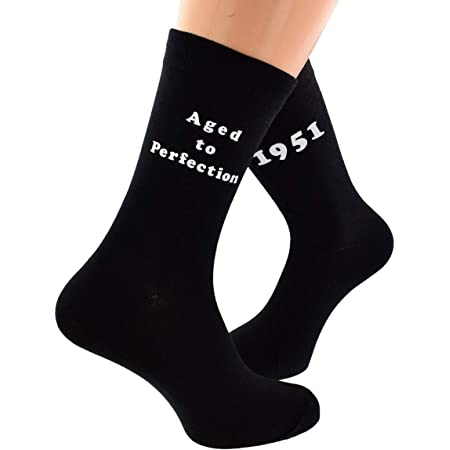 Aged to Perfection 1951 Printed on Mens Black Socks for 70th Birthday Present for 2021