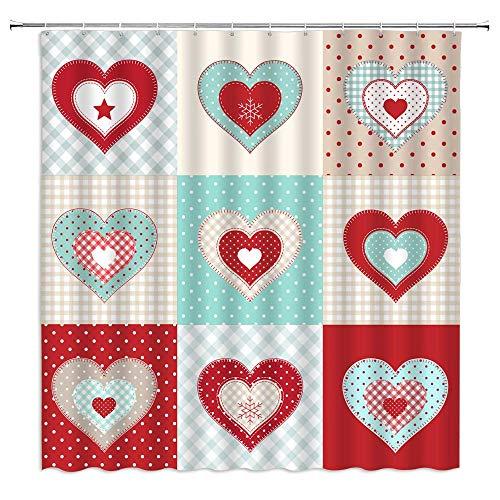 Herz-Duschvorhang Buffalo Plaid Streifen Polka Dots Romantisch Landhausstil Frische Süße Herzen Patchwork Stoff Badezimmer Dekor Haken enthalten (177,8 cm x 70 cm)