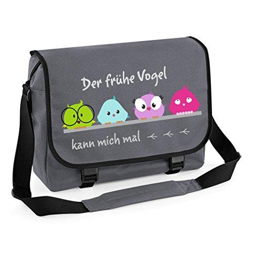 Mein Zwergenland Messenger Bag Der frühe Vogel, 14 L, grau
