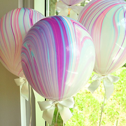 Unicorn Party Supplies. Unicorn Balloons. Marble Balloons with White Bows + Curling Ribbon. 8CT.