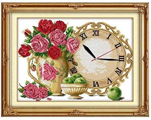 Kit de punto de cruz para principiantes, adulto, reloj de flores rojas, kit de punto de cruz para bricolaje, costura decorativa, 40x50 cm (lienzo preimpreso de 11 ct)
