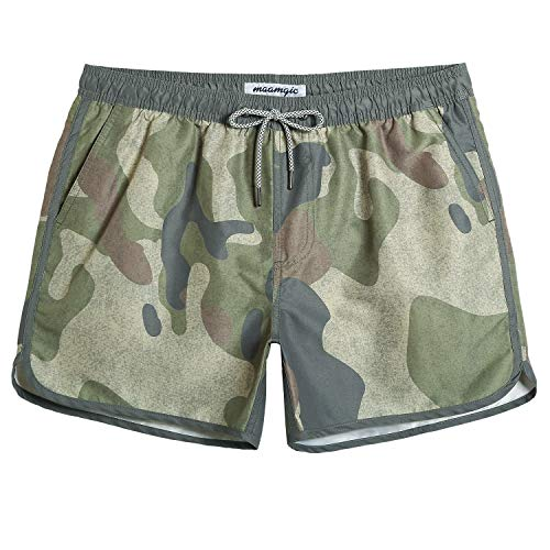 maamgic Mens Classic Swim Trunks Retro Vintage Swim Shorts 90s 80s Swimsuits with Mesh Lining Quick Dry Board Shorts Camo