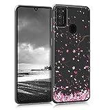 kwmobile Hülle kompatibel mit Samsung Galaxy M21 - Hülle Handy - Handyhülle - Kirschblütenblätter Rosa Dunkelbraun Transparent