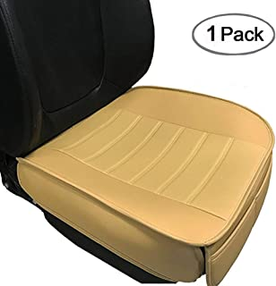 Car Seat Cushion, 1PC Edge Wrapping Car Interior PU Leather Car Seat Cushions Protector Front Car Seat Covers, Single Seat Cushion Cover Pad Mat for Auto Four-Door Sedan & SUV Driver Seat(Beige)