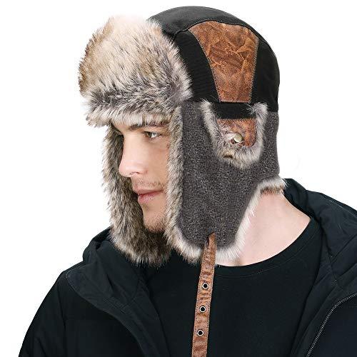 SIGGI schwarze warme Baumwolle Trappermütze Bomber Hut Unisex Fliegermütze Fellmütze Erwachsenen für Herren