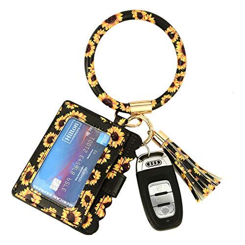 Daisy Sunflower Reinforced Version Cards Holder Wristlet Keychain Wallet w/ID Windows