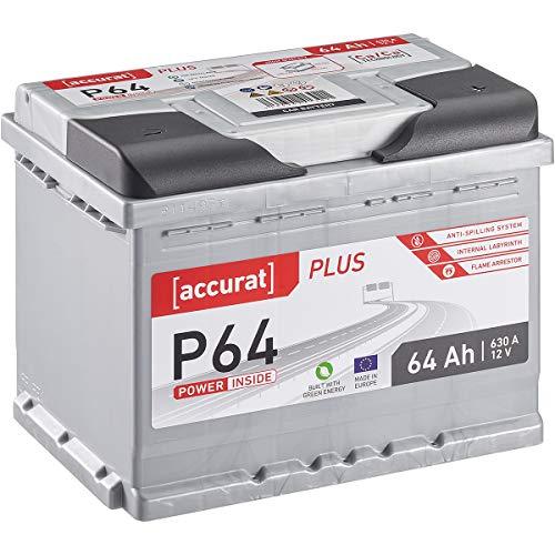 Accurat 64Ah Autobatterie 12V 630A Blei Säure Starterbatterie in Erstausrüster Qualität befüllt und geladen (wartungsfrei)