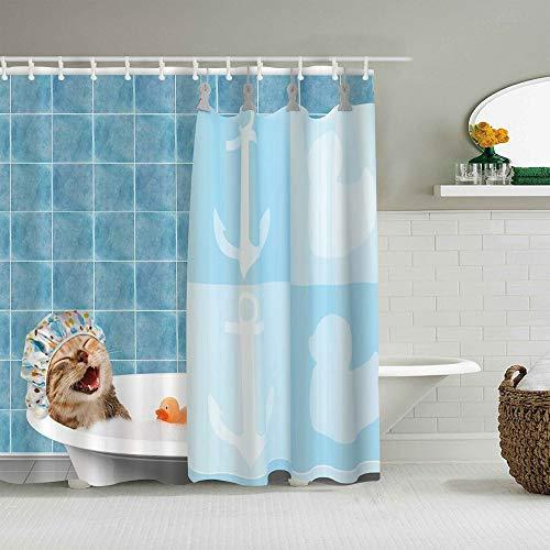 CVSANALA Cortina de Ducha,Gato Divertido Lindo Animal Tomando un baño Sonrisa Gorro de Ducha Teal Azul océano,Tejido de poliéster - con Gancho,180x180