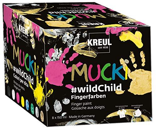"""Kreul 2300 - Mucki leuchtkräftige Fingerfarben Premium Set """"Wild Child"""", auf Wasserbasis, für Kinder ab zwei Jahren, 8 x 150 ml Farbe in Gelb, Pink, Blau, Grün, Weiß, Schwarz, Silber und Gold"""