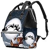 Papá Noel y su reno en luna llena con ciudad...