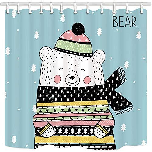LRSJD douchegordijn voor de winter, Cartoon-Bär, wit, met sjaal en hoed, van polyester, waterdicht, met haken 71 x 71 cm