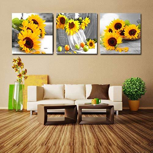 Leinwanddruck,Malerei Auf Leinwand Wandkunst,3 Panel Gelbe Sonnenblumen Blume Hd Poster Moderne Abstrakte Wandkunst Malerei Bild Pop Kunstwerk Für Wohnzimmer Restaurant Wohnkultur Handwerk,50X50Cmx3