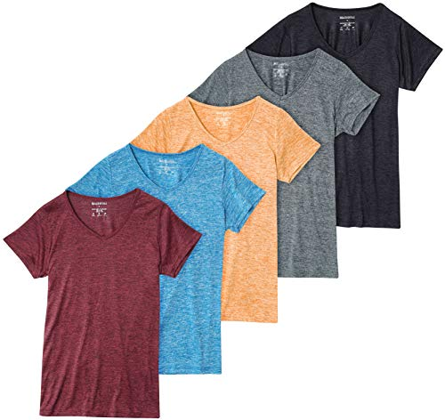 5 Pack: Womens V Neck T-Shirt Ladies Yoga Top Athletic Active Wear Gym Workout Zumba Exercise Running Quick Dry Fit Dri Fit Clothes - Set 2,XL