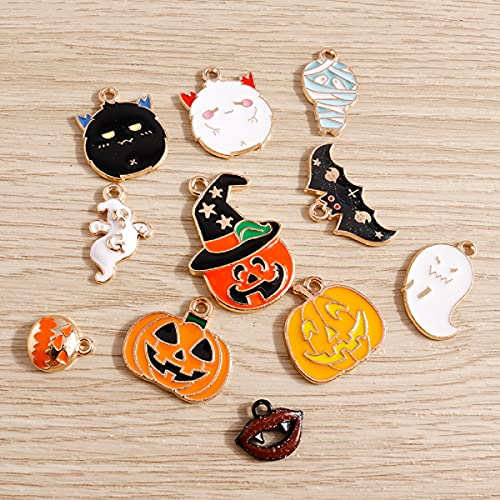 20Pcs/Set Mixed Charms Enamel Cute Halloween Pumpkin Bat Ghost Bat Mummies Charms for Jewelry DIY Crafts Supply Making Fashion Earring Pendant Necklace Charm Bracelet Charms DIY Ornaments