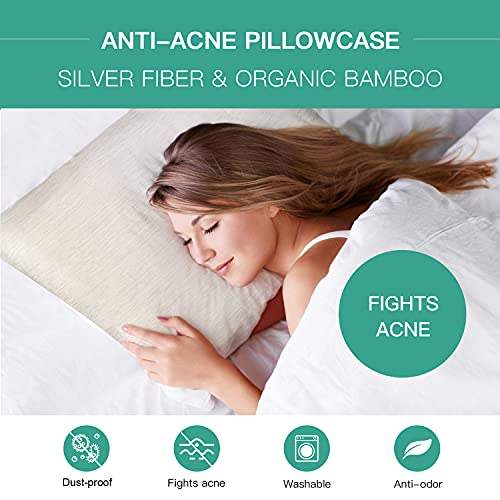 MMLK Anti-Acne Pillowcase, Acne Pillow Case with Silver Technology, Bamboo Fabrics Acne Fighting Pillowcase, Breathable Soft Pillowcase, Cooling Pillowcase (1 Anti-Acne Pillowcase)