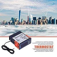 温度コントローラー、AC 110V-220V華氏/摂氏デジタル温度コントローラーサーモスタットヒート&クールモードモニタリングコントローラー