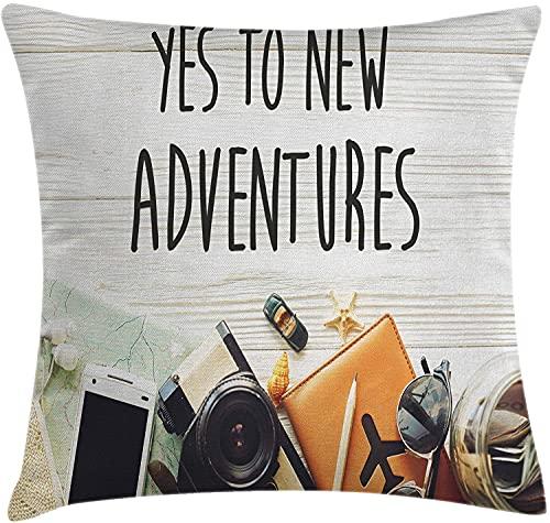 Adventure Throw Pillow Funda de cojín, Say Yes to New Adventures Texto Preparaciones de Viaje Tema Wanderlust Concept Retro, Funda de Almohada Decorativa Cuadrada Decorativa, 45x45 Crema Negra