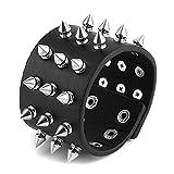 HZMAN Unisex Black Metal Spike Studded Punk Rock Biker Wide Strap Leather Bracelet