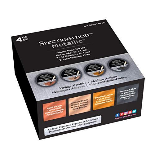 Spectrum Noir Encre liquide 30 Ml-vintage Metallics 4pc, différents, bocal