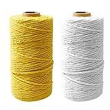 Nuoshen 2 rollos de cuerda de macramé, cuerda trenzada de algodón suave sin manchas para colgar plantas, colgar en la pared, manualidades, hacer punto de color original, cuerda de algodón atrapasueños