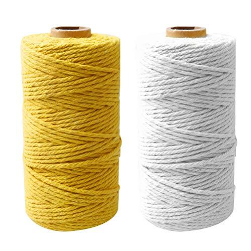Nuoshen Lot de 2 rouleaux de corde en macramé, 4 brins torsadés en coton doux non teinté pour suspendre des plantes faites à la main