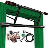 Chriffer Pull Up Bar for Doorway No Screws, Door Frame Chin Up Bar with Mount Hook Heavy Duty Doorframe Pullup Bar Trainer Body Workout Equipment for Home Gym Exercise Fitness