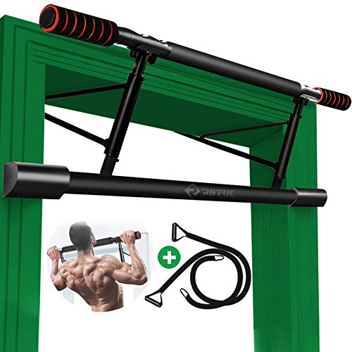 Chriffer Pull Up Bar for Doorway No Screws, Door Frame Chin Up Bar with Mount Hook, Heavy Duty Doorframe Pullup Bar Trainer Body Workout Equipment Trainer for Home Gym Exercise Fitness