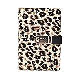 ZRJ Cuaderno de negocios A5 con bloqueo de contraseña, portátil con estampado de leopardo, para escuela, oficina y uso doméstico, 15 x 22 cm regalo para estudiantes
