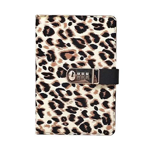 ZRJ Business Notebook A5 con chiusura password, copertina portatile con stampa leopardata, per scuola, ufficio e uso domestico, 15 x 22 cm, regalo per studenti