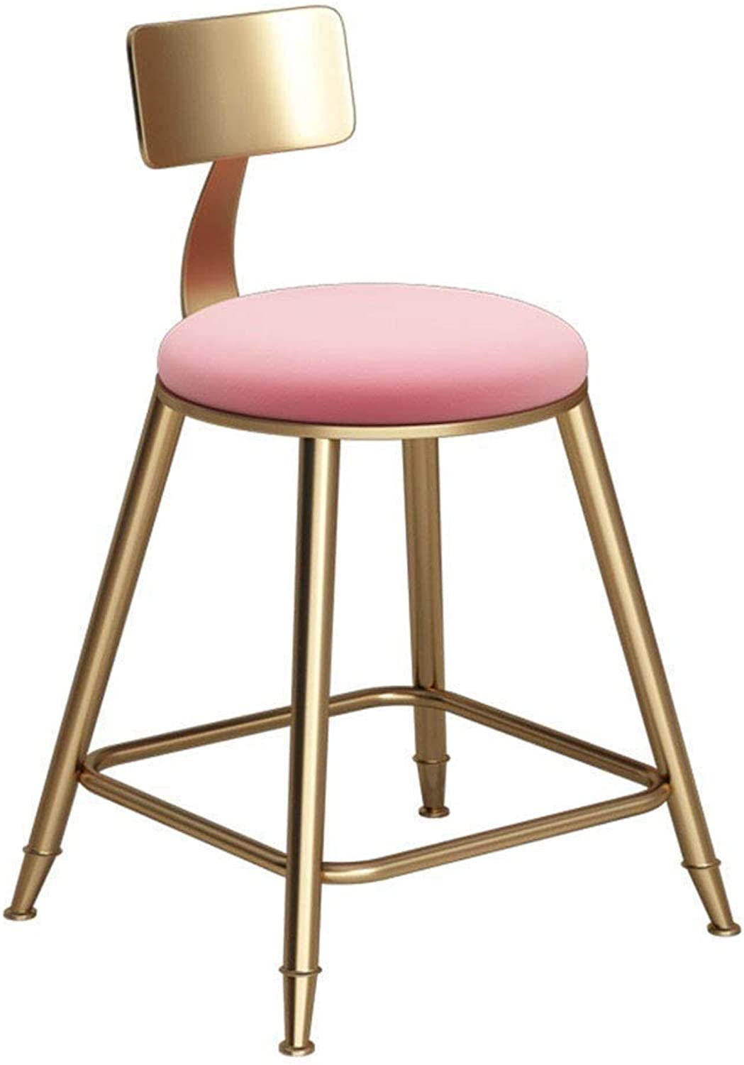 Modern Bar Chair -Kitchen bar High Stool gold Metal Pink Velvet Cushion Restaurant Cafe Chair JINRONG (color   Pink, Size   45cm)