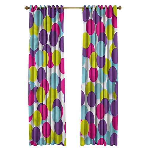 Colorful Printed Curtains Patio Sliding Door Curtain Geometrical Modern Circle 48' W x 95' L