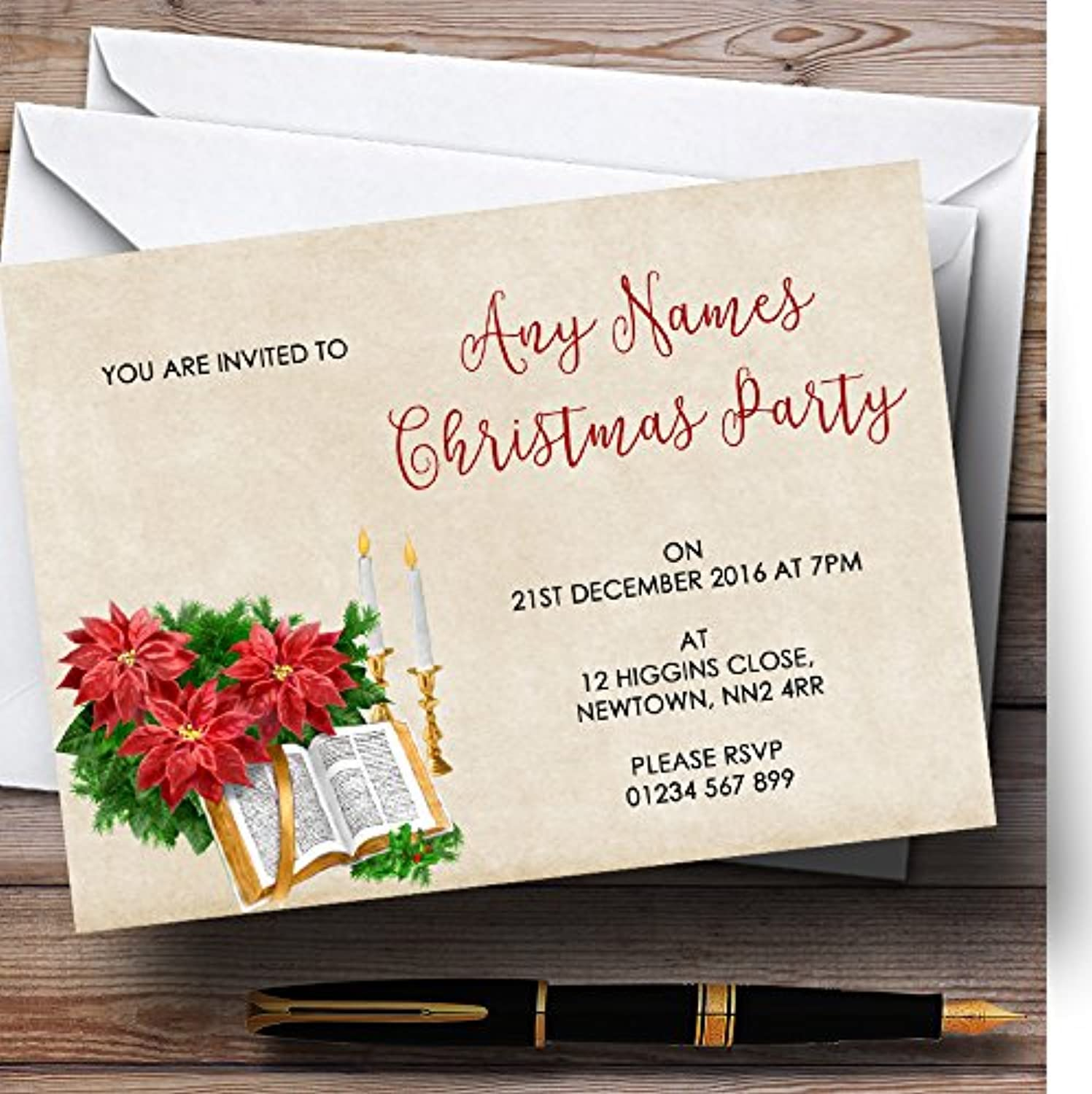 Vintage Bible Personalised Christmas   New Year   Holiday Party Invitations   Invites & Envelopes