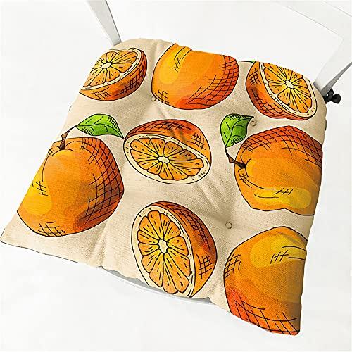 Chickwin Cojines para Silla con Correas de Sujeción, Fruta Estampado Pack 2 Cojín Decorativo de Asiento Cojines Acolchados de sillas para Terraza Jardín Sala Balcón (40x40cm,Naranjas)