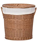 WAUTE Handwoven Rattan Laundry Hamper, Storage Baskets, Natural Handmade Rattan Laundry Basket with Lid and Handles… (20inch)