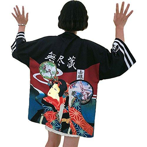 Japanischer Kimono Kleid Strickjacke - Traditionelle Klassische Haori Kleidung Tokio Harajuku Antike Stile Lockere Jacke Robe Kostüm Bademantel Nachtwäsche Mädchen Frauen - Geisha (Schwarz)