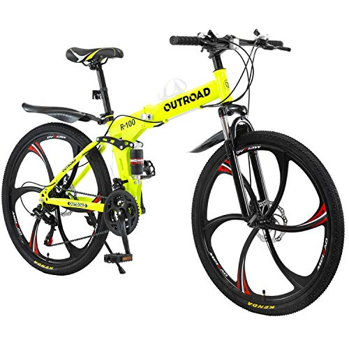 Max4out Mountain Bike Folding Bikes with High Carbon Steel Frame, Featuring 6 Spoke Wheels and 21 Speed Shimano Shifter, Double Disc Brake and Dual Suspension Anti-Slip Bicycles Yellow, 26 in